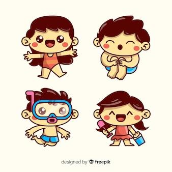Collezione di personaggi estivi in stile kawaii