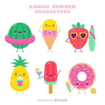 Collezione di personaggi estivi kawaii