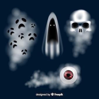 Collezione di personaggi fantasma di halloween con un design realistico