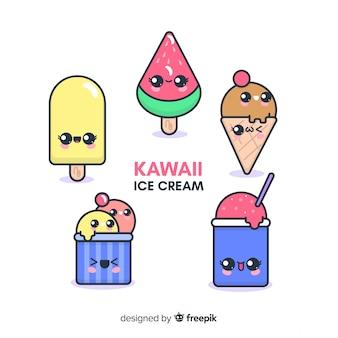 Collezione di personaggi gelato kawaii