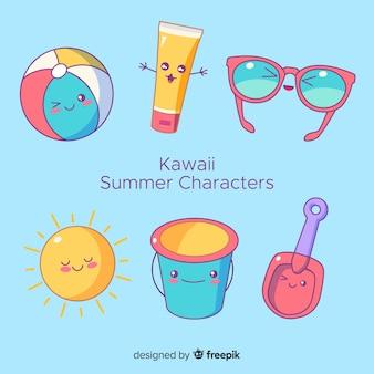 Collezione di personaggi kawaii d'estate disegnati a mano