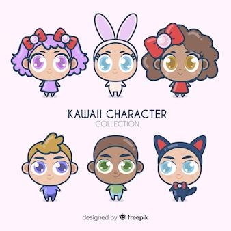 Collezione di personaggi kawaii disegnati a mano