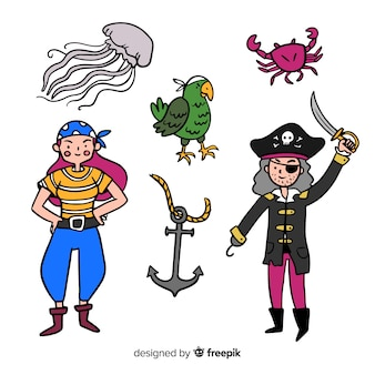 Collezione di personaggi marini disegnati a mano