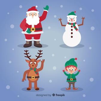 Collezione di personaggi natalizi agitando