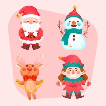Collezione di personaggi natalizi dell'acquerello