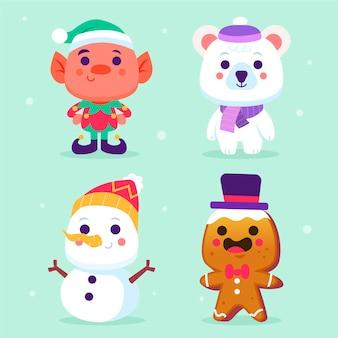 Collezione di personaggi natalizi design piatto