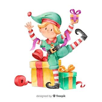 Collezione di personaggi natalizi elfo dell'acquerello