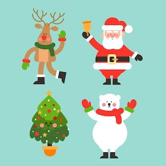 Collezione di personaggi natalizi in design piatto