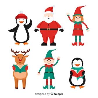 Collezione di personaggi natalizi in stile piatto
