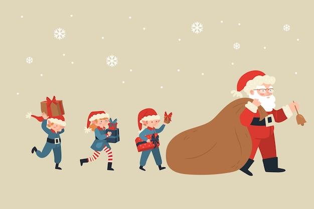 Collezione di personaggi natalizi piatti