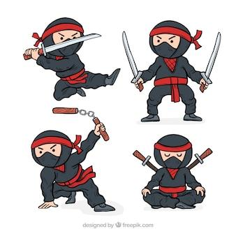 Collezione di personaggi ninja disegnati a mano