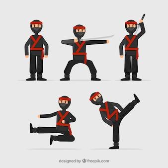 Collezione di personaggi ninja guerriero con design piatto