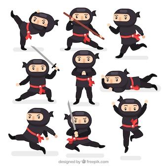 Collezione di personaggi ninja piatti in diverse pose