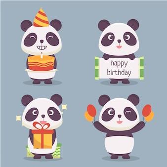 Collezione di personaggi panda