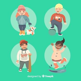 Collezione di personaggi per bambini hobbies day