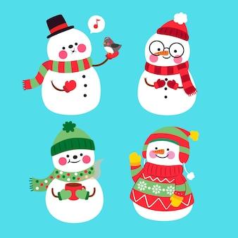 Collezione di personaggi pupazzo di neve in design piatto