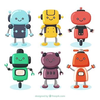 Collezione di personaggi robot disegnati a mano
