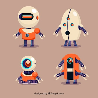Collezione di personaggi robot piatto