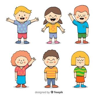 Collezione di personaggi simpatici disegnati a mano