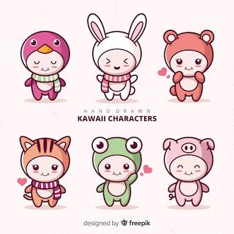 Collezione di personaggi travestiti kawaii disegnati a mano