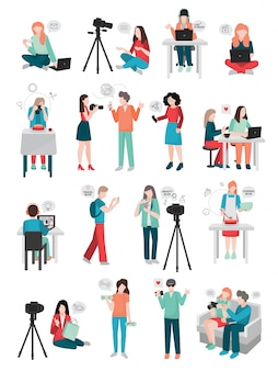 Collezione di personaggi umani di blogger