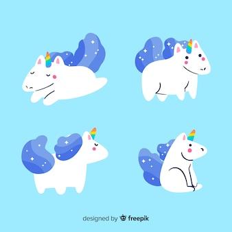 Collezione di personaggi unicorno blu kawaii