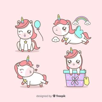 Collezione di personaggi unicorno in stile kawaii