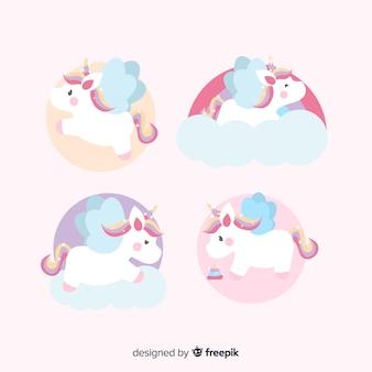 Collezione di personaggi unicorno kawaii