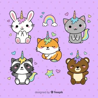 Collezione di personaggi unicorno stile kawaii