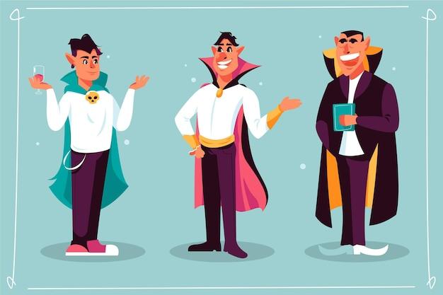 Collezione di personaggi vampiri design piatto