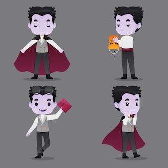 Collezione di personaggi vampiri per halloween
