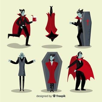 Collezione di personaggi vampiri piatti
