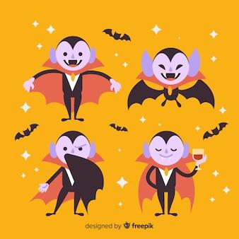 Collezione di personaggi vampiro bambino piatto