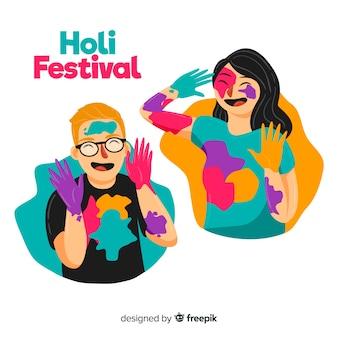 Collezione di persone del festival holi disegnati a mano