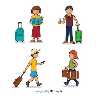 Collezione di persone del viaggiatore disegnato a mano