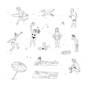 Collezione di persone disegnate a mano.