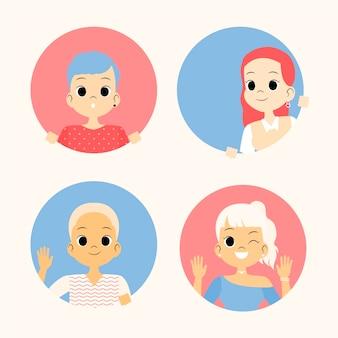 Collezione di persone femminili che fa capolino avatar