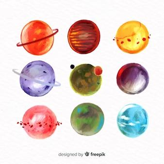 Collezione di pianeti colorati ad acquerello