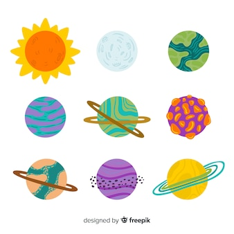 Collezione di pianeti disegnati a mano