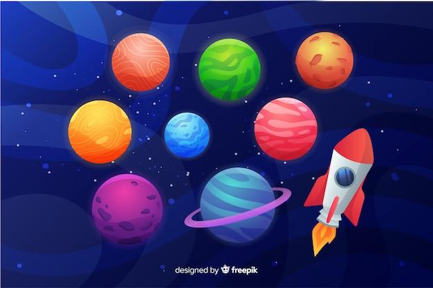 Collezione di pianeti piatti con razzo spaziale