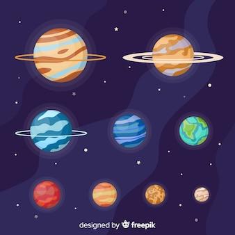 Collezione di pianeti piatti della via lattea