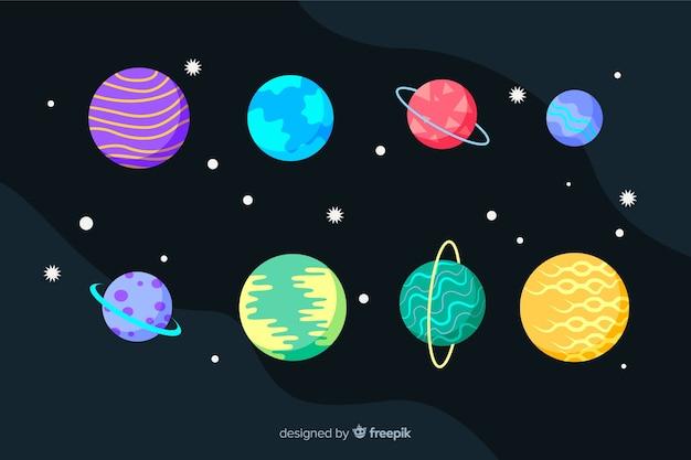 Collezione di pianeti piatti e stelle