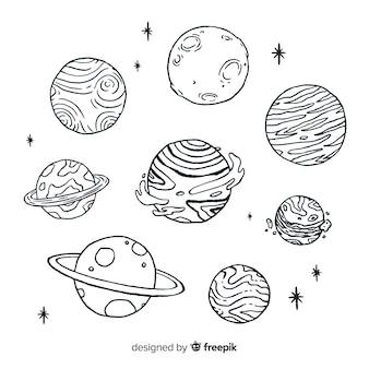 Collezione di pianeti schizzo disegnato a mano in stile doodle