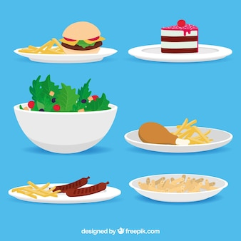 Collezione di piatti con cibo diverso