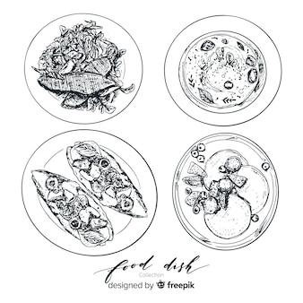 Collezione di piatti di cibo incolore