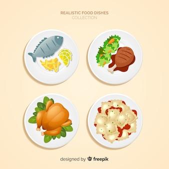 Collezione di piatti di cibo realistico