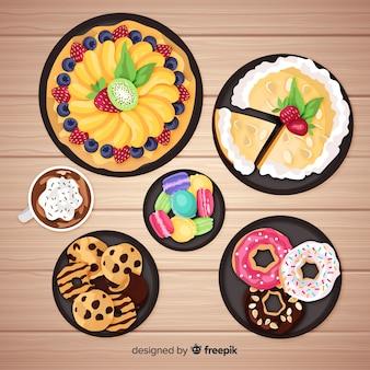 Collezione di piatti dolci realistici