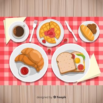 Collezione di piatti per la colazione