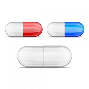 Collezione di pillole realistiche. insieme di vettore delle compresse a forma di capsula rosse, blu, bianche.