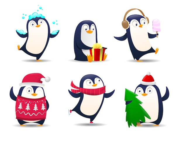 Collezione di pinguini di cartone animato, pinguini di natale